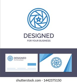 Creative Business Card and Logo template Aperture, Film, Logo, Movie, Photo Vector Illustration