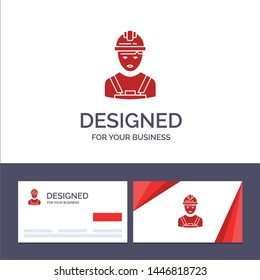 Creative Business Card and Logo template Worker, Industry, Avatar, Engineer, Supervisor Vector Illustration