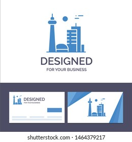 Creative Business Card and Logo template Building, Canada, City, Famous City, Toronto Vector Illustration. Vector Icon Template background