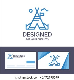 Creative Business Card and Logo template Tent Free, Tent, Camp, American Vector Illustration