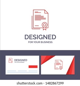 Creative Business Card and Logo template Certificate, Business, Diploma, Legal Document, Letter, Paper Vector Illustration