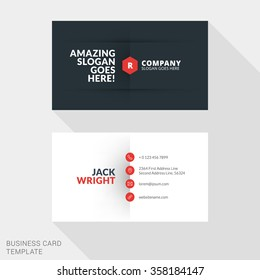Carte De Visites Creative Business Card Print Template Flat Design Vector Illustration Stationery