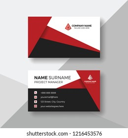 Creative business card with red details