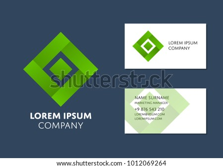 Creative business card template green square stock vector royalty creative business card template with green square logo name work position phone flashek Image collections