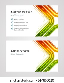 Creative Business Card Template Modern Creative and Clean Corporate Design Style Vector Illustration. Two sides and abstract background colorful.