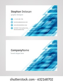 Creative Business Card Template Modern and Clean Corporate Design Style Vector Illustration. Two sides and abstract background blue color.