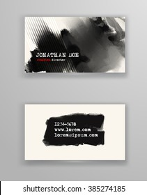 Creative business card templates with minimalistic design. Abstract black ink brush strokes. Vector Illustration.