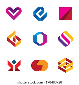 Creative business company logo tape line help care icon set