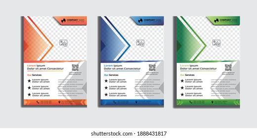 Creative Business Flyer Orange, Blue and Green color. Vector Design.