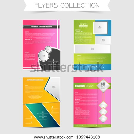 Creative Business Flyers Or Brochures Set Of 4 With Nice And Design Illustration