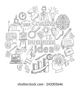 Creative business idea concept with sketch creativity decorative icons set vector illustration