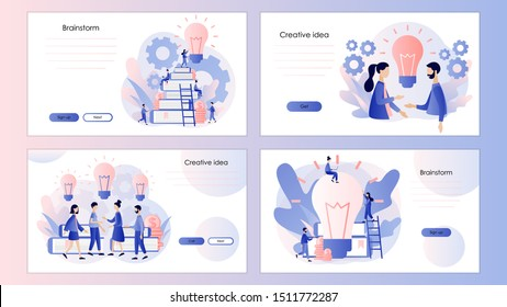 Creative business idea, content development, brainstorming. Screen template for mobile smart phone, landing page, template, ui, web, mobile app, poster, banner, flyer. Modern flat cartoon style.Vector