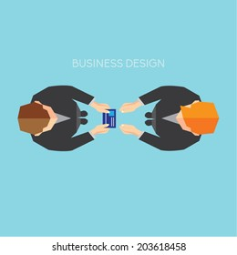 Creative Business and Office Conceptual Vector Design - Exchanging Businesscard