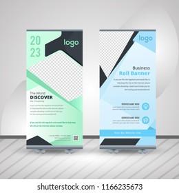 Creative Business Roll Up Design. Standee Design. Banner Template. Presentation and Brochure. Vector illustration