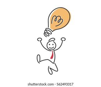 Creative Business Strategy Tips Stickman Illustration Concept - Brilliant Inspiration Idea