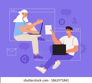 Creative business team, freelancers or partners work online using video call application or zoom. Distant working process or work at home concept. Trendy business characters discuss or meet online.