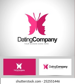 Creative Butterfly logo concept vector. Creative dating logo with male and female faces