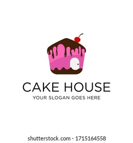 creative cake House logo design vector, make cake and bakery in house vector illustration