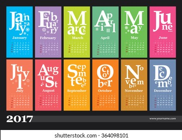 Creative calendar 2017 - grid with numbers of weeks, they start on sunday. Can be used for web and print design: card, banner, poster, label, bookmark.