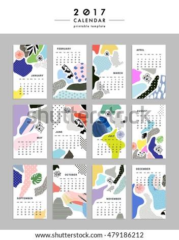 creative calendar 2017 templates leaves flowers stock vector