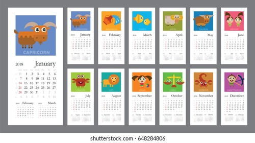 Creative calendar 2018 with horoscope signs (zodiac symbols set) - flat colored illustration, template. Can be used for web, print, card, poster, banner, bookmark. Week starts on sunday.
