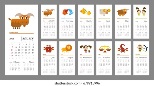 Creative calendar 2018 with horoscope signs (zodiac symbols set) - flat colored illustration, template. Cartoon characters. for web, print, card, poster, banner, bookmark. Week starts on sunday.