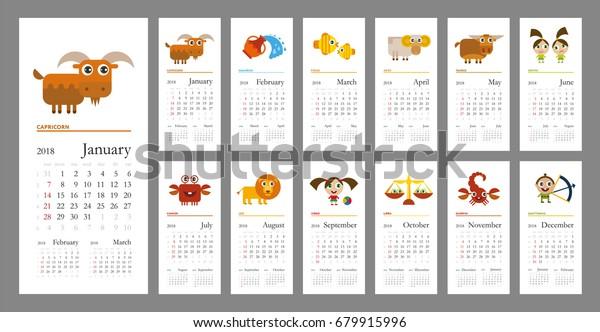 Horoscope Calendar.Creative Calendar 2018 Horoscope Signs Zodiac Stock Vector Royalty
