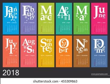 Creative calendar 2018 - jazzy concept, vector editable template