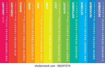 Creative calendar 2018 with rainbow vertical design, sundays selected. Multicolored template for web, business, print, postcard, wall and banner.