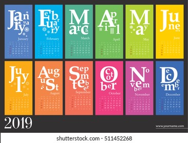 Creative calendar 2019 - week start on sunday,classic grid with numbers. Multicolored pages can be used for print, banner, bookmark.