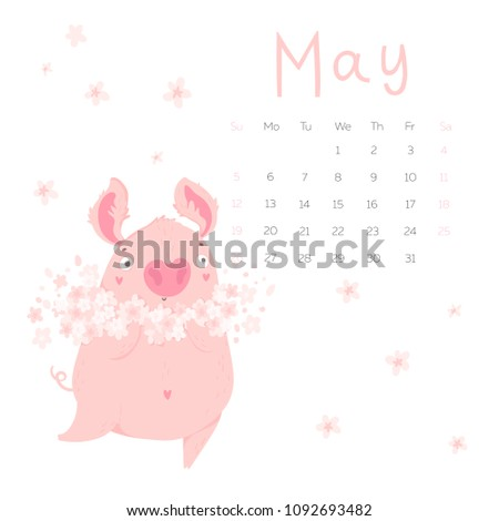 Creative Calendar May Cute Pig Concept Stock Vector Royalty Free