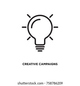 Creative campaigns vector icon, bulb symbol. Modern, simple flat vector illustration for web site or mobile app