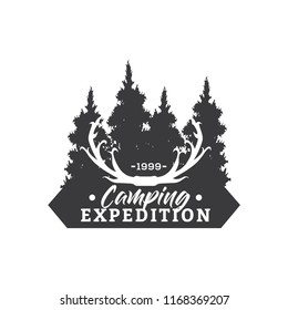 Creative Camping Concept Logo Design Template, Black and White, Badges