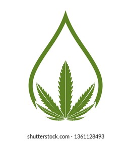 Creative Cannabis Leaf And Hemp Oil Vector Logo Icon template for CBD Cannabidiol Cannabis Hemp Marijuana Medical Pharmaceutical Industry And Bussiness Company