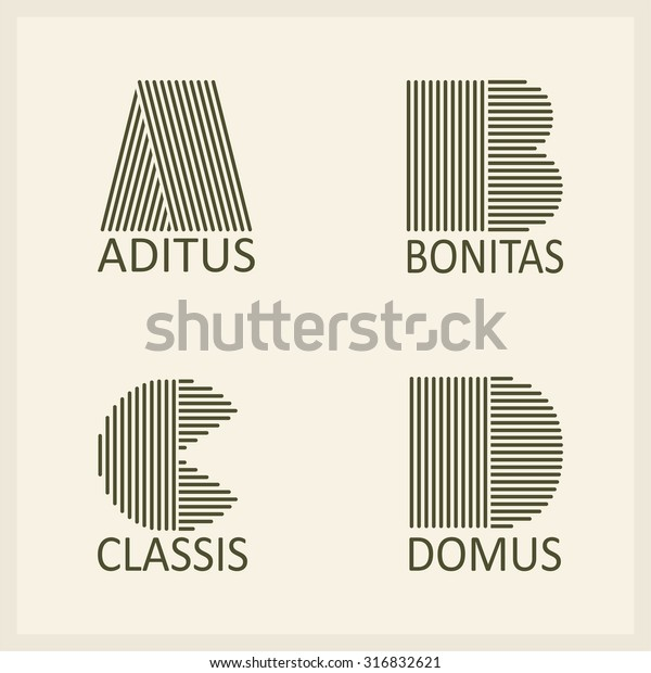 Creative Capital letters A, B, C, D. Made of parallel strips. Templates for logos, emblems and monographs.