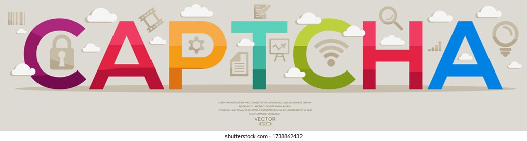 Creative (captcha) Design,letters and icons,Vector illustration.