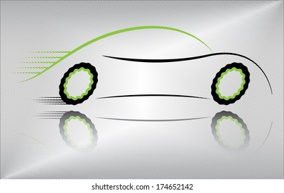 Creative car vector illustration. Outline of a sport vehicle in motion. Abstract black and green auto design on metallic background. Raster and more variations available in my portfolio.