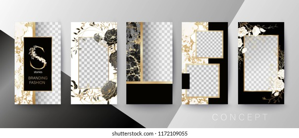 Creative card, invitation, frame for text or photo. Quote template.  Art concept for Stories.  Black marble, floral and golden frame.