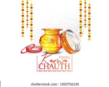 creative card and poster banner for Karwa Chauth or Karwa Chauth Poojan with nice background
