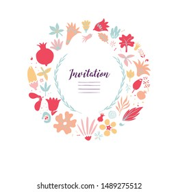 creative card template design with frame made of many different colorful floral doodes