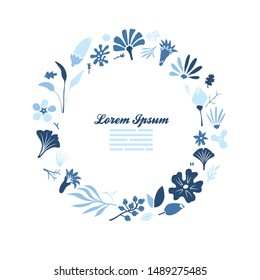 creative card template design with round frame made of many different floral doodes