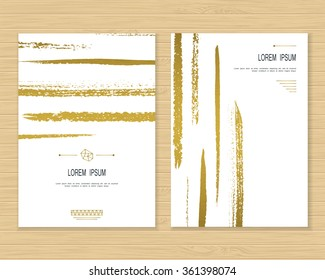 Creative card vector template isolated. Hand drawn background. Brush stroke. Gold metal banner design. Paper texture