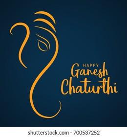 Creative Card,Poster Or Banner For Festival Of Ganesh Chaturthi Celebration.