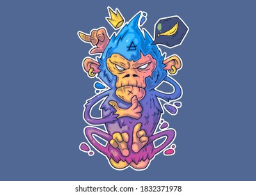 Creative Cartoon Illustration. Cool monkey in a funny pose.