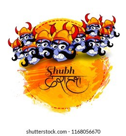 Creative  cartoon illustration of  Ravan head  with Hindi text Dussehra sale  in Navratri festival of India