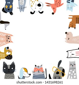 Creative cats and dogs square frame with text place. Vector illustration