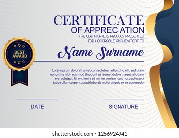Creative Certificate Of Appreciation Award Template. Illustration Certificate Horizontal In A4 Size Pattern.