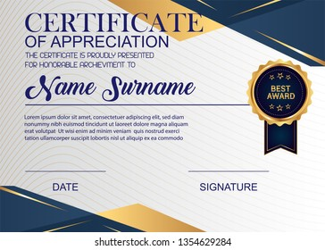 Creative Certificate Of Appreciation Award Template. Illustration Certificate Horizontal In A4 Size Pattern.