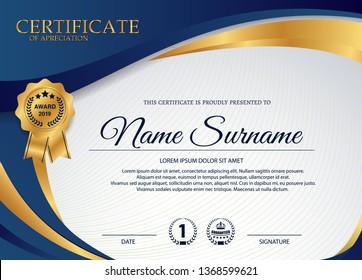creative certificate of appreciation award template with blue and golden shapes and badge