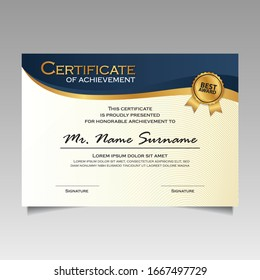 creative certificate of appreciation award template with dark blue and golden shapes and badge